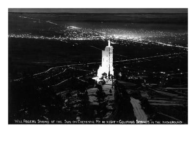 Colorado Springs, Colorado - Will Rogers Shrine of the Sun on Cheyenne Mt at Night