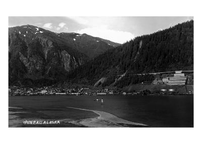 Juneau, Alaska - Panoramic View of Town from Water