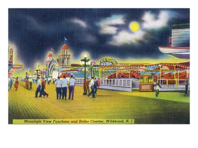Wildwood-by-the-Sea, New Jersey - Funchase and Roller Coaster in the Moonlight