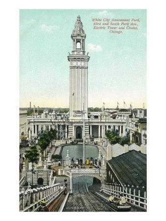 Chicago, Illinois - White City Amusement Park; View of Electric Tower and Chutes