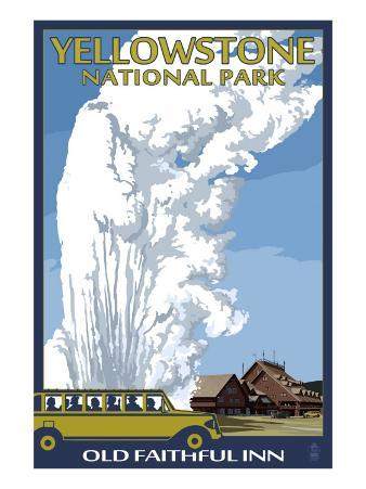 Old Faithful Lodge and Bus - Yellowstone National Park