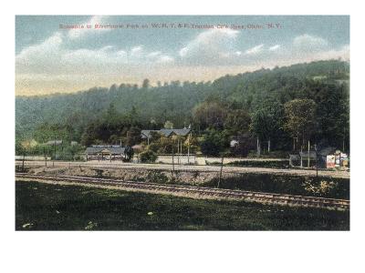 Olean, New York - WNY&P Railroad Lines; Riverhurst Park Entrance Scene