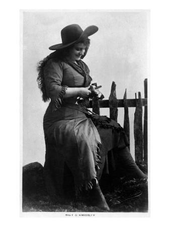 Cowgirl Portrait - Miss F G Kimberley Cutting an Apple