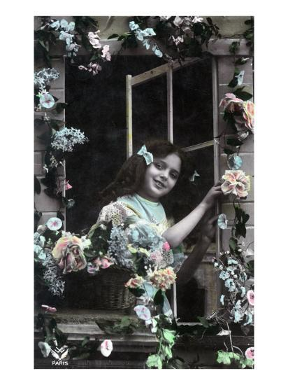 Paris, France - Little Girl at Window with Flowers Print ...