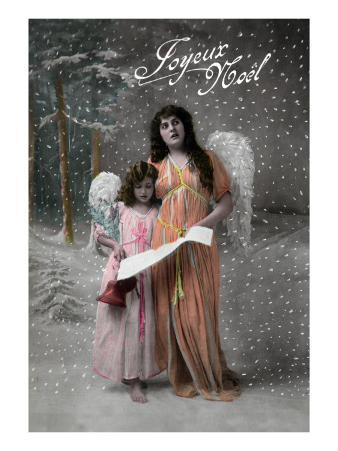 Joyeux Noel - Merry Christmas in French, Little Girl Carols with Angel