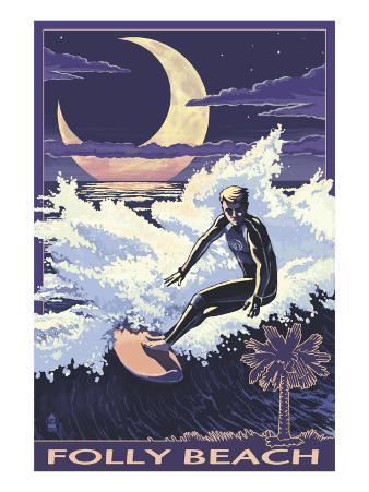 Folly Beach, SC - Sufer with Palmetto Moon