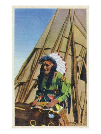 View of a Native American outside of Teepee