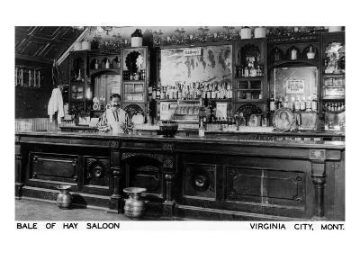 Virginia City, Montana - Interior View of Bale of Hay Saloon
