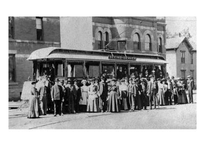 Denver, Colorado - Sightseeing Trolley with Crowd