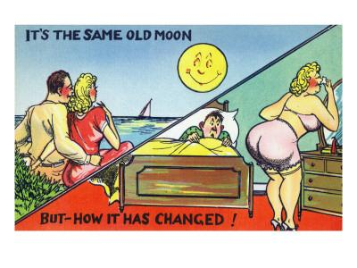 Comic Cartoon - Cute Couple; Same Old Moon, How it Has Changed