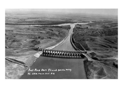 Fort Peck, Montana - Aerial View of Dam and Spillway
