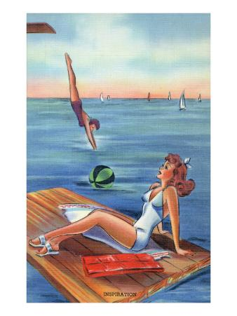 Pin-Up Girls - Inspiration Scene; Woman on Float on Lake