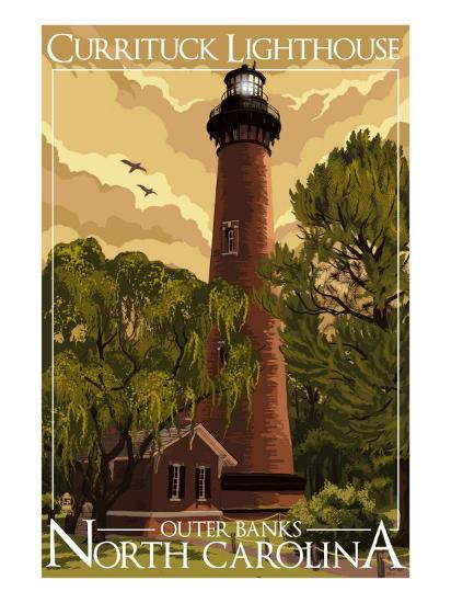 Currituck Lighthouse Outer Banks North Carolina Art By