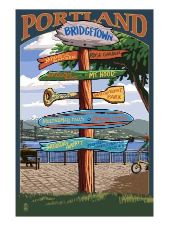Portland, Oregon Destinations Sign