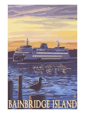 Bainbridge Island, WA - Ferry and Sunset