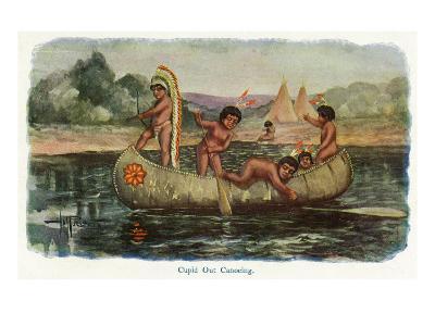 Native American Children in a Canoe