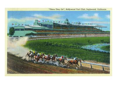 Inglewood, California - Hollywood Turf Club View of a Horse Race