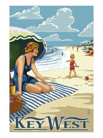 Key West, Florida - Beach Scene