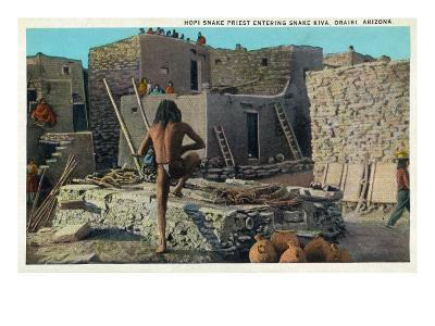 Oraibi, Arizona - Hopi Snake Priest Enters Snake Kiva