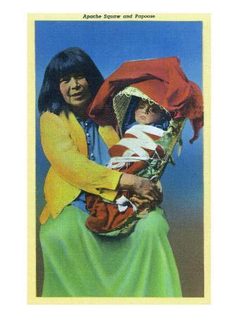 Apache Mother and Baby in Papoose