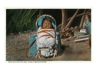 Pueblo Indian Baby Snug as a Bug in a Rug in his Papoose