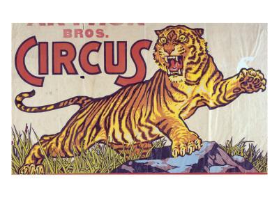 """Arthur Bros. Circus"" Poster with Illustration of Roaring Tiger, Circa 1945"
