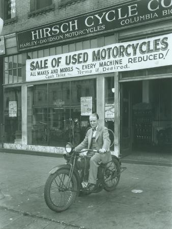 Man on Harley Davidson Motocycle at Hirsch Cycle Co., 1927