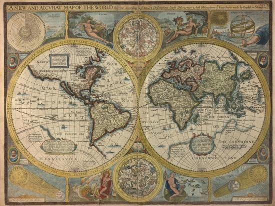 A New and Accurat Map of the World, 1651 Giclee Print by John