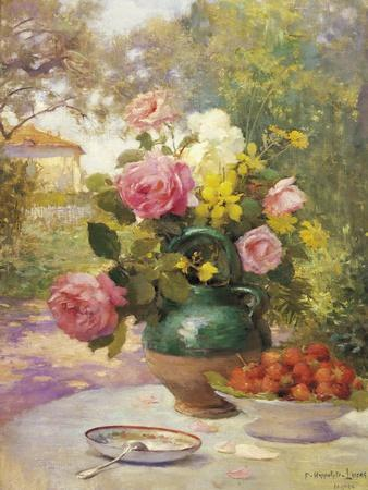 Still Life of Summer Flowers and Fruit
