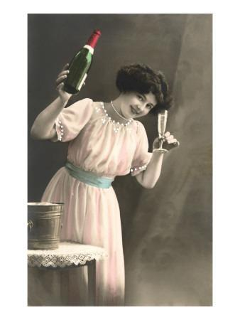 Woman Toasting with Champagne Flute