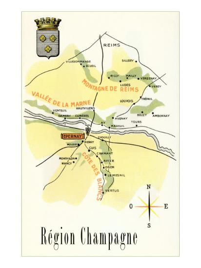 Map of Champagne Region of France Prints at AllPosters.com Champagne Region Of France Map on