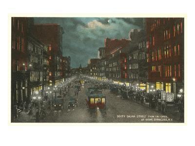 Moon over Salina Street, Syracuse, New York