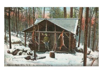 Hanging Deer by Adirondack Cabin, New York