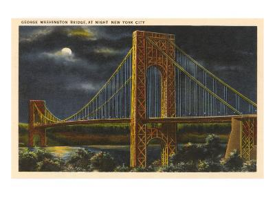 Moon over George Washington Bridge, New York City