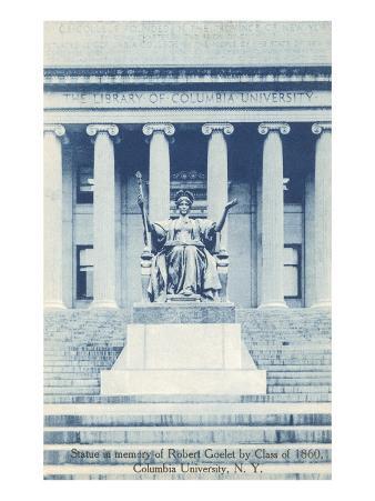Library, Statue, Columbia University, New York City