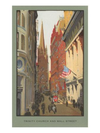 Painting of Trinity Church, Wall Street, New York City