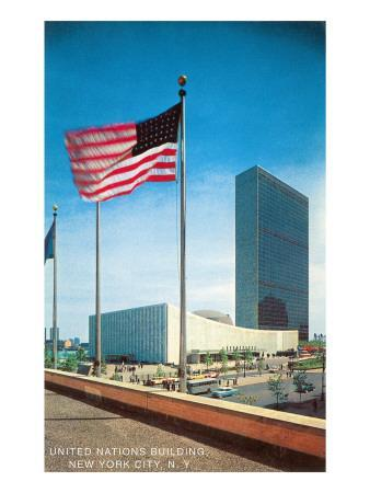 American Flag and United Nations Buildings, New York City