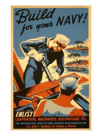 Build for Your Navy, Enlist! WW II Poster