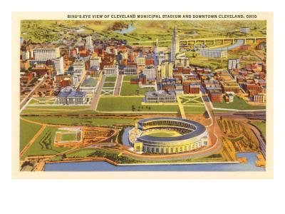 View over Cleveland Stadium, Cleveland, Ohio