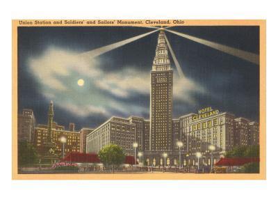 Moon over Union Station, Cleveland, Ohio