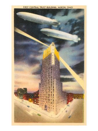 Night, Blimps over Central Trust, Akron, Ohio