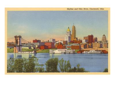 Skyline and Ohio River, Cincinnati, Ohio