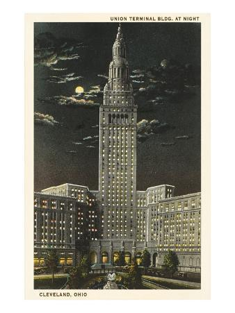 Moon over Union Terminal, Cleveland, Ohio