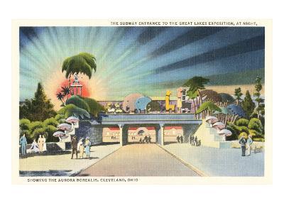 Subway Entrance, Great Lakes Exposition at Night, Showing the Aurora Borealis, Cleveland, Ohio