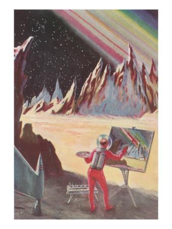 Astronaut Painting Martian Landscapte