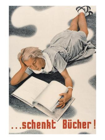 Give Books, German Poster