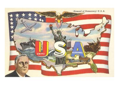 Franklin Roosevelt with Flag and Map