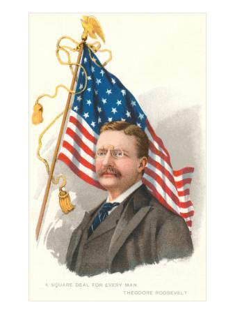 Theodore Roosevelt and Flag