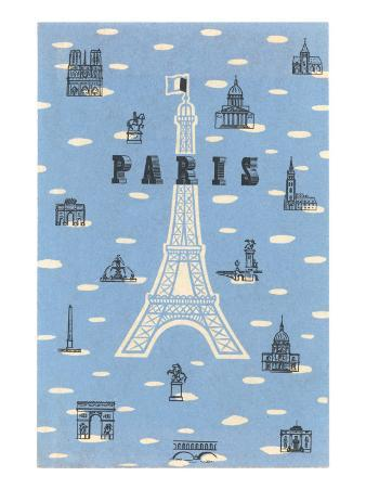Eiffel Tower and Various Paris Motifs