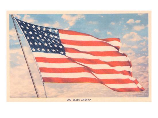 God Bless America Flag Print At Allposterscom